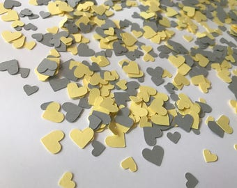 Mini Yellow and Grey Heart Confetti - Yellow and Grey Wedding Decorations - Yellow and Grey Bridal Shower - Yellow and Grey Baby Shower