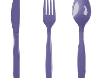 24PCS Purple Heavy Duty Plastic Cutlery Assorted Pack, Wedding Decorations, Decor, Party Decorations, Party, Wedding, cutlery