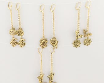 Gold Halloween charms earrings, Halloween earrings, Halloween charms earrings