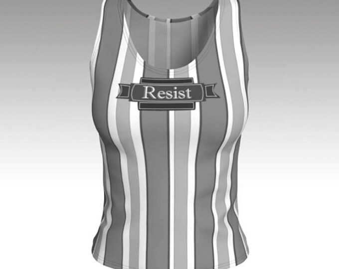 Tank Top, Resist Typography Retro Gray and White Striped Tank Top, Gray Stripes, Swim Tank, Athletic Top, Yoga Top, Exercise Top, Gift