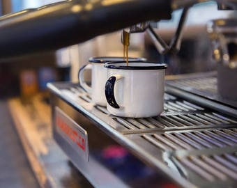 Camping enamel mug, coffee mug, espresso mug, vintage mug, bourbon mug, wedding favour, whisky mug, vintage mug, Plain mug
