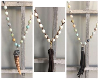 Faux Ox Horn Beaded Necklace