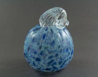 Blue Sparkle Blown Glass Pumpkin