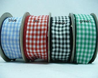 "Gingham wired, checker wired, 1.5"" by 10 yards"