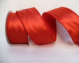 """Solid crushed wired ribbon, valentine ribbon, wedding ribbon, solid red wired ribbon 2"""" x 20 yards"""