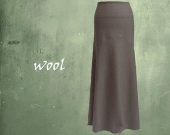 long wool skirt, long wool A-line skirt