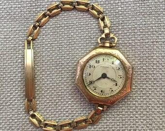 Art Deco Ladies vintage watch 14K Gold Filled GF So lovely!