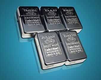 5 Engraved lighters - Custom engraved lighter in box - Personalized Groomsmen gift - Engraved Silver wedding gift set  - Best Man lighter