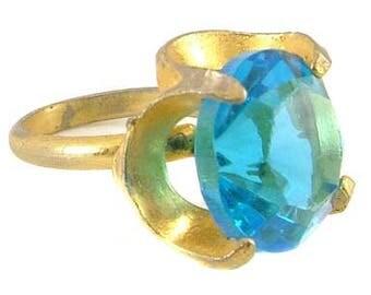 Bright Aquamarine Glass Gold Plated Ring