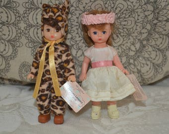 "20% off Set of 2 Madam Alexander Collectible Miniature Dolls ""Halloween Leopard Costume""  ""Flower Girl"""
