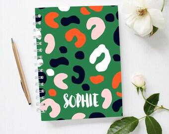 Custom Name Notebook Cover, Leopard Notebook, Bujo, Bullet Journal, Monogram Notebook, Green Notebook, Spiral, Leopard Print Notebook