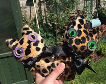 Leopard Mini Mogs Cat Plush Leopard Toys Kawaii Plushie Weird Stuffed Animals OOAK Art Doll Mini Collectibles