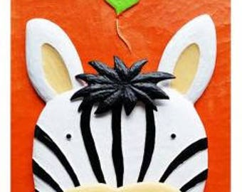 Paint-By-Number Kits-3D Cartoon-FUNNY ZEBRA- Kids DIY Painting Crafts--Kids Love Painting! Help Your Child Make a Masterpiece-Easy-Fun!!