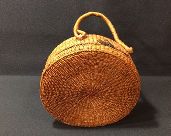 Woven wicker basket purse, handbag, vintage