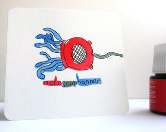 Mini Card postcard Summit entirely hand - watercolor and ink - diving Octopus humor