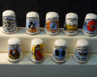 Thimbles Historic Days in November Set of 9 Commemorative Birchcroft Fine Bone China Thimbles