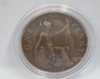 100 Year Old 1918 British Penny Coin Presented in a Coin Capsule - Genuine Pre-Circulated Coin - 100th Birthday Gift
