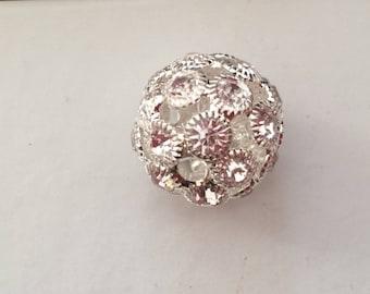 20 mm silver Crystal rhinestone round bead