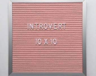 "PROMO - 10x10"" Introvert Letter Board - Aluminim Frame Letter Board with Pink Felt - Messenger Board - Felt Board with 290 Letter Set"