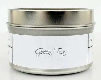 GREEN TEA   Soy Candle   Scented Candle   Candle Tin   Candles   Spa Candle   Clean and Fresh   Herbal and Earthy   Natural Soy