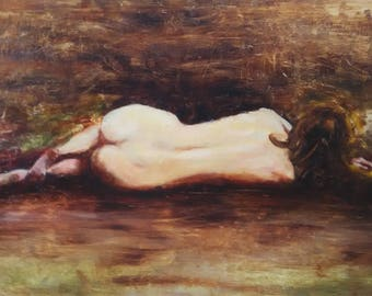 Nude, Original Oil Painting on Panel
