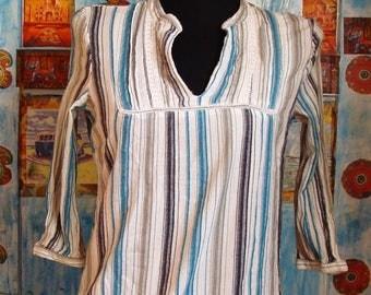 Striped cotton shirt, Elegant lace shirt, Cotton shirt with striped
