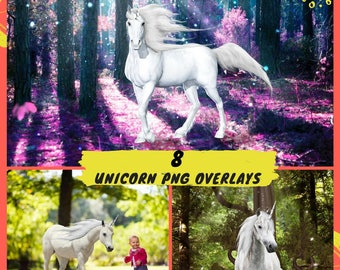 8 Unicorn Overlay, White Horse Overlays, Unicorns Transparent PNG, Magical Unicorn Fantasy, Photography Photoshop Overlay, Unicorn PNG