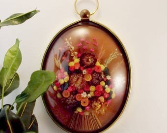 Vintage Dried Flowers Picture/Domed Glass/Brass Oval Frame