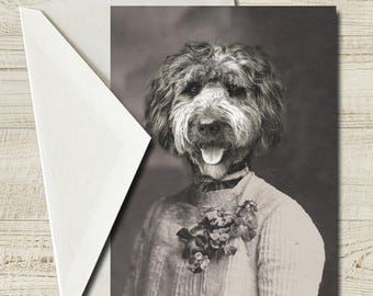 "Portuguese Water Dog Greeting Card, 5"" x 7"" Blank Card, Funny Card, Anthropomorphic Card, Dog Stationary, Antique Portrait (#1001)"