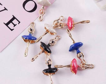 Lot of 10Pcs 17*40MM Zinc Alloy Gold Plated Fashion Dancing Ballet Girls Floating Enamel Charm Pendant DIY Jewelry Accessories