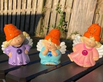 Hand Painted Ceramic - 3 Flower Pot Angels