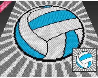 Volleyball crochet blanket pattern; c2c, knitting, cross stitch graph; pdf download; no written counts or row-by-row instructions