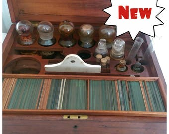 Antique Mahogany Apothecary Box with Bottles and Slides (a/f) (2418)