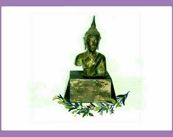 Antique Gilt Bronze Buddha Bust U Thong Dynasty c1350 A.D (97)