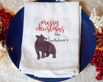Woodland Rustic Kitchen Christmas Decor, Rustic Bear Kitchen Towel, Rustic  Christmas Decor, Christmas