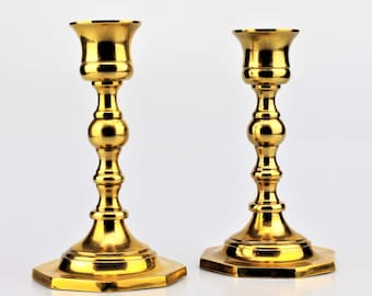 Pair of Enesco Solid Brass Turned Candlesticks