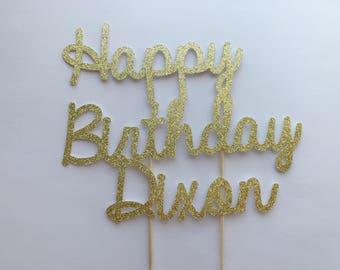 Any Name Happy Birthday Cake Topper-Birthday Cake Topper-Handmade Cake Topper-Personalized Birthday Party