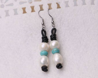White Pearls Dangle Earring,Handmade Beaded Drop Earrings,Women White Freshwater Pearls Pendant Earring Jewelry,Blue Turquoise Stones