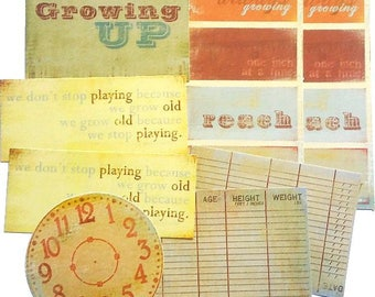 8 cut-outs die cuts & journaling cards vintage My Mind's Eye scrapbooking