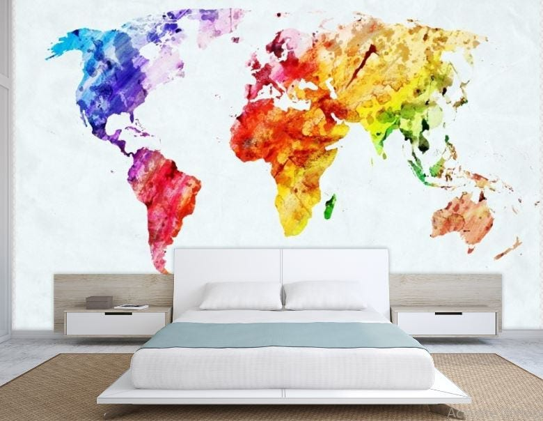 World Map Wall Mural Painting Map Wallpaper Colorful World - Map wall mural decal