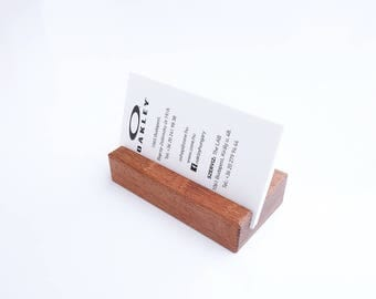 Wooden Business Card Holder. Wood Paper Stand. Wood Calendar Stand. Jatoba wood.