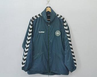 DENMARK HUMMEL Vintage 90's Denmark Hummel Taped Logo Zipper Sweater Jacket Size L