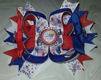 4th of July Hairbow, Freedom is Sweet Bow, Independence Day Bow, Cupcake Bow