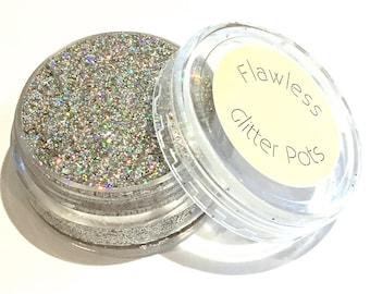Rainbow Silver Pressed Glitter Eyeshadow Pot - Starlight, Glitter Eyeshadow, Party Glitter, Festivals, Cosmetic Glitter, Body Glitter