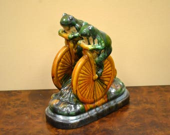 Ceramic Frogs On Tricycle Statue