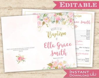 Baptism Program Editable PDF Girl Digital Print for girl  LDS baptism program printable floral watercolor Pink Gold Baptism Program Print