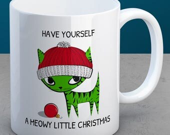 Cat Christmas - Coffee, Cat, Hat, Christmas, Mug, Ornament, Meowy Christmas, Meowy, Catmas, Gift Idea, Cat Lover, Cat Christmas Gift