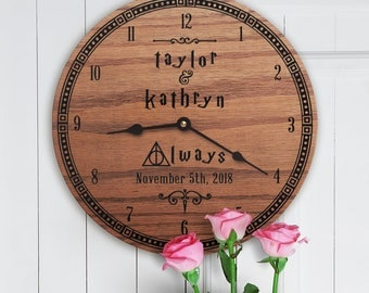 Personalized Wedding Gift for Harry Potter Nerds - Gift with Last Name - Fans of Harry Potter - Custom Names - Always Logo - Deathly Hallows