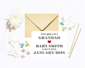 Personalised Customised You're Going To Be A Grandpa Grandad! Single Postcard With Envelope Baby Announcement!