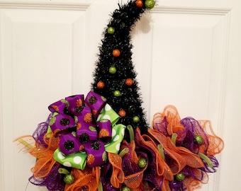 witch hat wreath witches hat door hanger halloween decor halloween wreath mesh